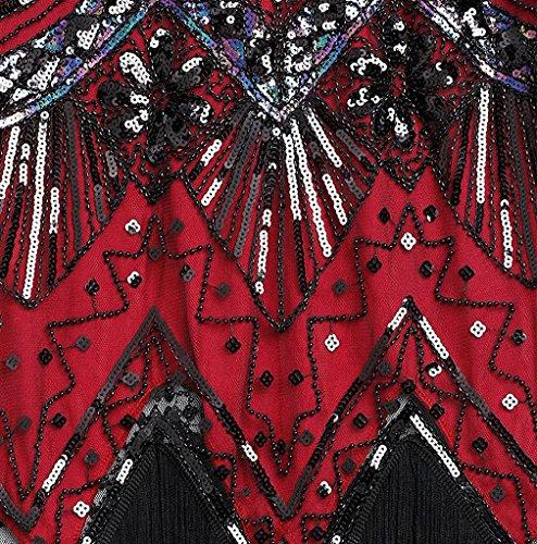 99fa9431551 Shelly Women s Flapper Dresses 1920s V-Neck Beaded Sequin Fringed Great  Gastby Dress